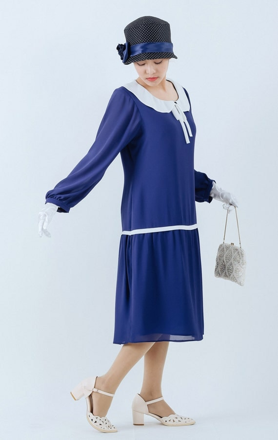 New 1920s Day Dresses & Tea Dresses Long sleeved Great Gatsby dress in dark blue with peter pan collar blue 1920s dress blue flapper dress Downton Abbey dress 20s dress $135.00 AT vintagedancer.com