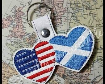 United States - Scotland - Scottish - USA - Flag - Key Fob DESIGN-  Digital Embroidery Design