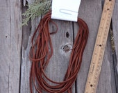 Soft leather lace , Soft leather cord , Reddish brown leather lace , British tan cowhide