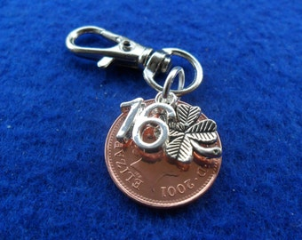 "16th Birthday present 2001 British coin bag charm for a 16th birthday gift ""16"" charm British coin"