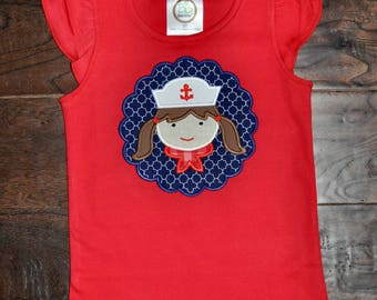 Sailor girl applique shirt