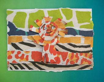 Happy Birthday Lion Greeting Card -  Whimsical Lion