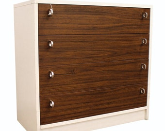 Mid-Century Danish Modern Rosewood-Face Laminate Bachelor Chest w/ Ring Pulls