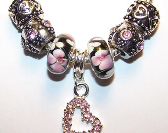 7 Pc Black with Pink and White Flowers Lampwork Glass European Beads for Charm Bracelet Silver Lot A16