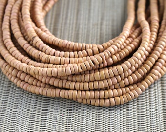 4-5mm Sand Beige Apricot - Coconut Shell Pucalet Rondelle Beads - Dyed and Waxaed - 15 inch strand