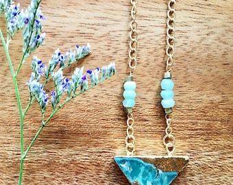 Boho Necklace, Triangle Stone Necklace, Stone Necklace