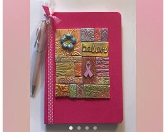 Pink Breast Cancer Journal,Writing Journal, Diary, Memory Book,Breast Cancer Awareness, Polymer Clay Journal, Breast Cancer Awareness Diary