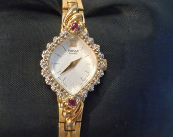 Pulsar Ruby Diamond Working Women's Watch, New Battery, Vintage Pulsar Quartz Diamond Ruby and Gold Tone Band Watch for small wrists, RARE!