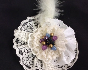 Beautiful vintage style clip on flower lace and jewels