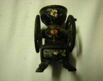 vintage mini mill-coffee mill-miniature mill-collectibles-shelf decor-cast iron-rustic-retro-kitsch-