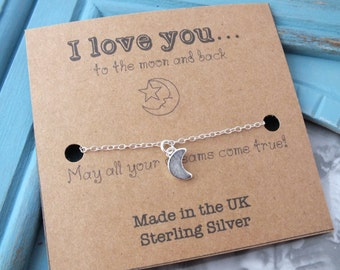 Sterling Silver Moon Bracelet, I Love you to the Moon and Back, Dainty Moon Bracelet, Crescent Moon Bracelet