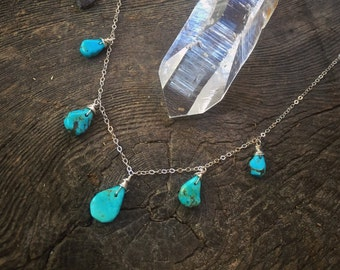 Turquoise tear drop silver necklace / bohemian chic blue green crystal / free people / gypsy style handmade jewelry