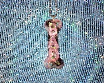 BAD to the BONE ~ Pastel Pink, Blue, & Black Bone Pendant