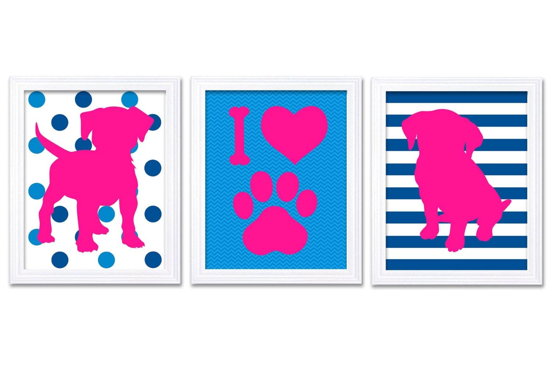 Hot Pink Blue Puppy Dog Nursery Art Puppy Prints Set of 3 Prints Stripes Chevron Polka Dots Baby Wal
