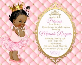 ANY SKIN TONE - Princess Baby Shower Invitation, Pink, Gold, Glitter, Sparkle- Printable or Printed