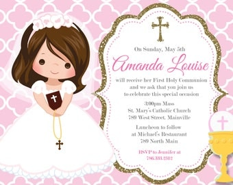 Any Hair Color, First Communion, Pink, Gold, Girl, Invitation- Printable or Printed with FREE SHIPPING