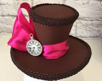 Mad Hatter Mini Top Hat, Alice in Wonderland Mini Top Hat, Tea Party Mini Top Hat, Clock Mini Top Hat