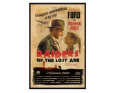 Indiana Jones, Raiders of the Lost Ark - Retro Movie Poster // Inspired by 1930s 1940s Romance Adventure Movies // Harrison Ford Wall Art