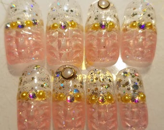 Press on Nails Kawaii Hime Gyaru Japanese Pink Ice Tip Nail