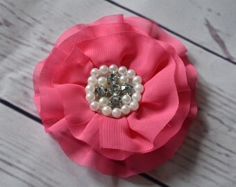 Pink Chiffon Flower Hair Clip Bow