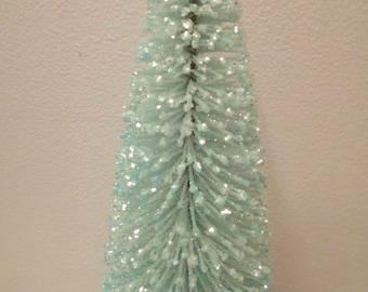 8 inch Tall Turquoise Aqua Blue Green Crystal Glitter Flocked Easter Spring Christmas Tree Shabby Bottle Brush Chic Village Pastel