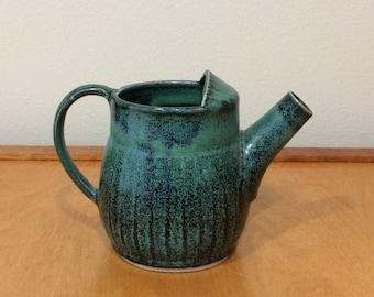 Vintage Green Teapot - Pottery Art Pitcher, Teapot, Vase