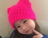 Neon Pink Pussy Hat Project - Teen/Adult Women's Kitty Beanie - Cat Hat - women's March