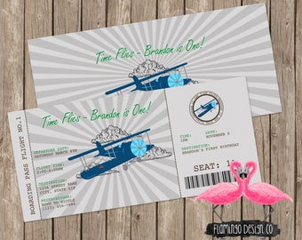 Blue Airplace Ticket Birthday Invitation, Airplane Birthday Invitation