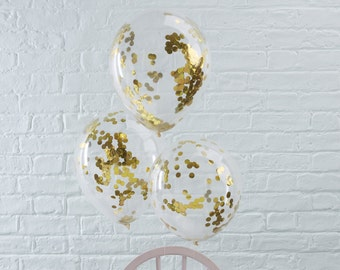 Gold Confetti Balloons, Clear Confetti Balloons, Gold Party, Gold Confetti, Balloons, Party, Celebration, Wedding Balloons