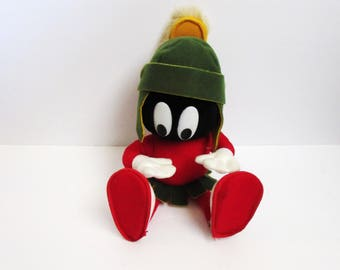 """Looney Tunes Marvin The Martian Poseable Plush 1993 Warner Bros 13"""" Figure Doll 24k"""