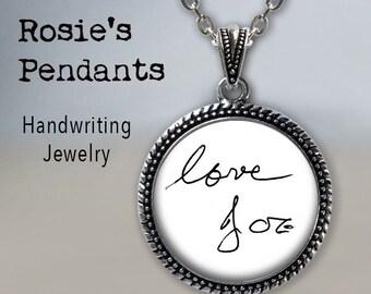 Handwriting Necklace - Handwriting Jewelry - Custom HANDWRITING or Signature - Your Actual Handwriting - Custom Handwriting Pendant Necklace