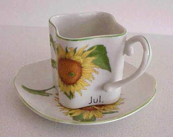 Toko Sunflower Botanical Art Collection for July Square Cup and Saucer by Y. Ohta