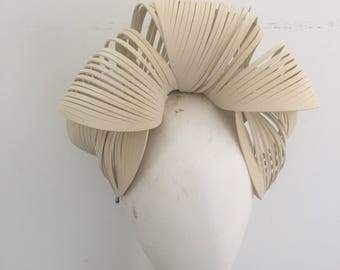 Turban Fascinator, church hat, ascot hat, melbourne cup, spring racing, derby hat, cream, modern fascinator, hat