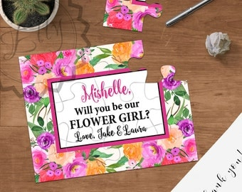 Will you be my flower girl puzzle, Asking flower girl ask to be flower girls, be my junior bridesmaid proposal, jr. bridesmaid, asking gifts