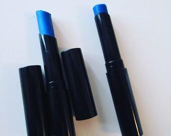 Blue lipstick in slim tube