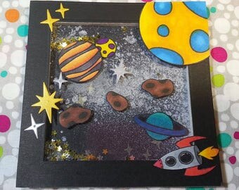 Out oF This World space stamp set. Customize your own galaxy with planets, stars, asteroids, UFO, rocket, sun, moon