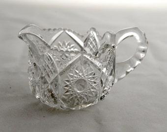 Vintage Pressed Glass Hobstar Creamer