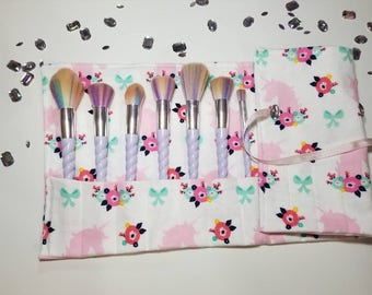 Unicorn Brush Roll - Brush Roll, Makeup Brush Roll, Beauty, Cosmetic Brush Roll, Travel Accessory, Pastel Pink Brush Roll, Makeup Accessory