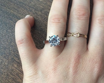 2 Carat Solitaire Diamond Engagement Ring Lab Diamond various sizes.
