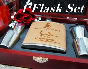 Wedding Gift for Men - Groomsmen Gift - Personalized Flask with Names and Dates