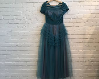 1950s Teal Tulle Cupcake Dress // 50s Blue Prom Formal Dress // 1950s Vintage Blue Green Tulle and Velour Gown
