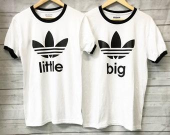 Big Little Sorority Black and White Ringer Tees