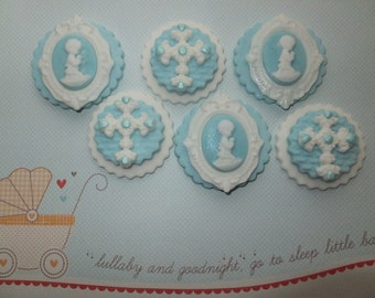 Edible cupcake toppers cross ~ baby boy cameo Christening baby shower naming baptism
