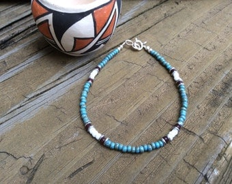 Southwest Style Turquoise Blue Picasso Seed Bead Bracelet, Turquoise Southwest Bracelet,  Picasso Beads, Minimalist Jewelry