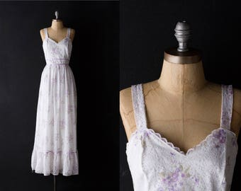 Vintage Lace Floral Dress - Sleeveless Summer Prairie Maxi - sz XS / Small