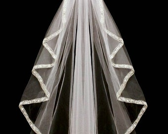 Cascade Cut Rhinestone Beaded Embroidery Wedding Veil in Elbow and Fingertip Length