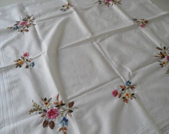Small embroidered  square Vintage table cloth,sixties cotton table cloth with flowers,richly decorated table cloth