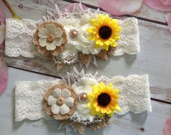 Sunflower Couture Country Rustic Bridal Garter Set- lace couture,wedding,bride,bride and groom,throw garter,keepsake garter