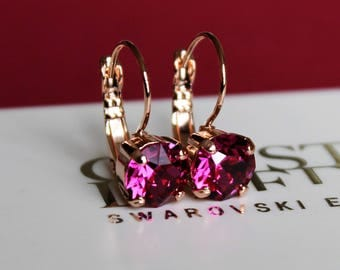 Rose Gold Plated Leverback Earrings made with Fuchsia Swarovski Crystal Elements. Earrings by Lady C