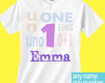 Girls 1 shirt different languages | Girls Un birthday girls 1st birthday with different languages